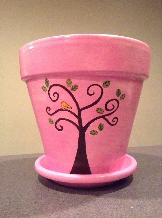Pink Hand Painted Flower Pot on Etsy, $33.00 by Sheila's Garden Girls LLC in Ocean City, NJ.