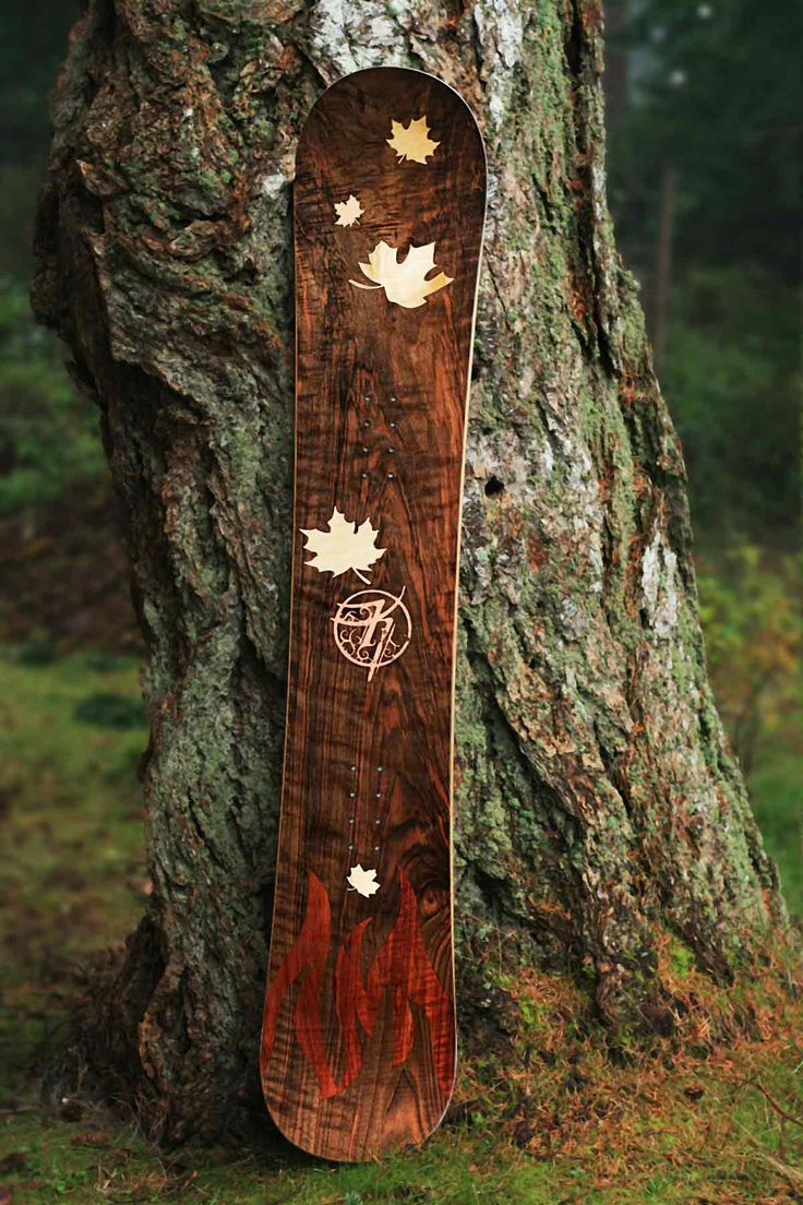 A wood snowboard from Kindred Custom Snowboards. Great craftsmanship!