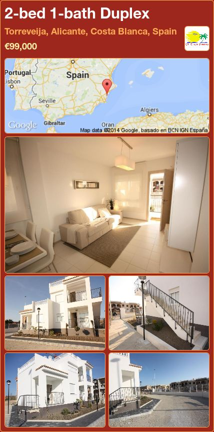 2-bed 1-bath Duplex for Sale in Torreveija, Alicante, Costa Blanca, Spain ►€99,000