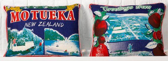 Motueka New Zealand Linen Vintage Fabric Cushions by MuttonandLamb, £78.00