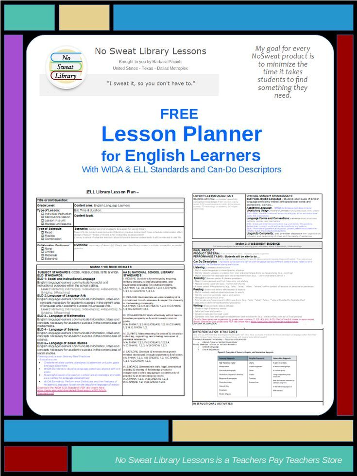 Free My Ell Library Lesson Planner Template Includes Wida Eld Standards Can Do Descriptors And Diff Lesson Planner Free Lesson Planner English Lesson Plans
