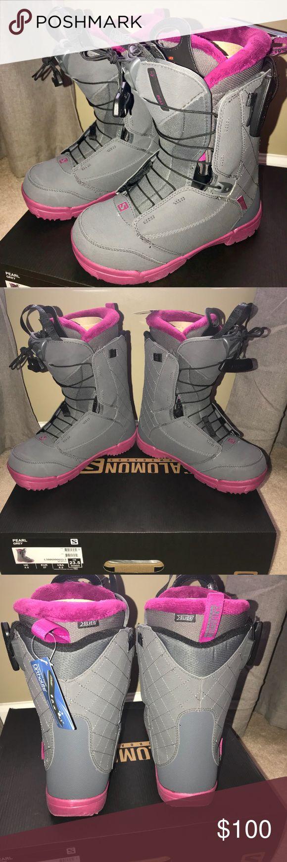 Women's 2018 Pearl Grey sz 6 snowboard boots. Brand new with tags and box Women's 2018 Pearl Grey Salomon snowboard boots. Size 6 never used! Salomon Other