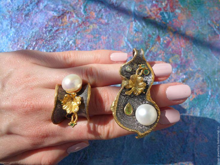 """Купить """"Aloisia""""-шикарный серебряный комплект с жемчугом и камнями - комбинированный, комплект серебряный, эксклюзивный комплект"""