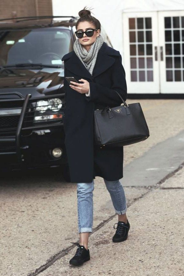 taylor hill denim pants black trench coat