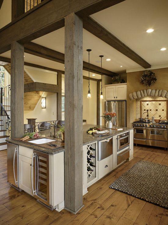 Posts or pillars at the islandIdeas, Dreams Kitchens, Exposed Beams, Expo Beams, Traditional Kitchens, Dreams House, Rustic Kitchens, Country Kitchens, Wood Beams