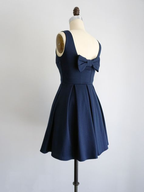 january - shop apricity - navy blue retro bow back bridesmaid dress