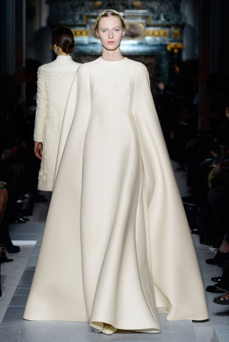 """Madonne"" dress cape in white lilac wool embroidered with ferronnerie. http://www.valentino.com/en/collections/haute-couture/"