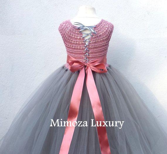 Rosa polvoriento y gris flor chica vestido vestido por MimozaLuxury
