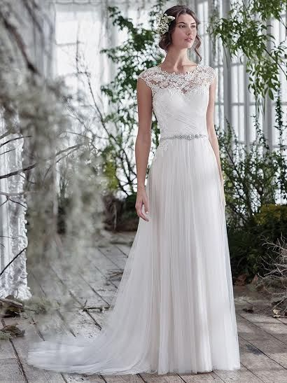 Lace Illusion Neckline Dress by Maggie Sottero available at The Bridal Cottage