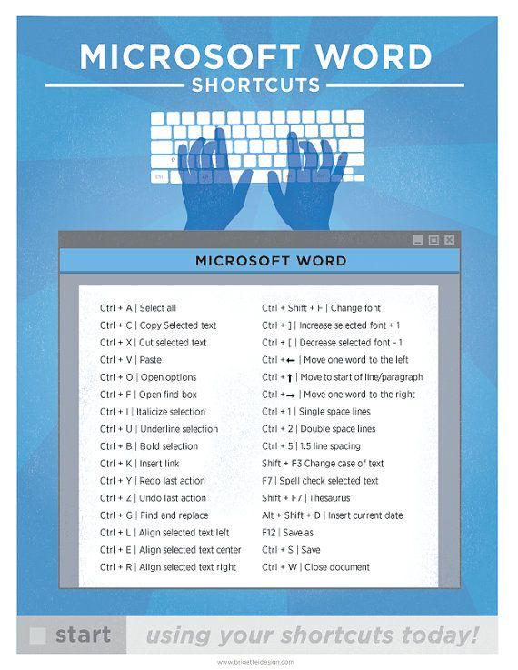Microsoft Word Keyboard Shortcut Printable Poster 8.5″x11″