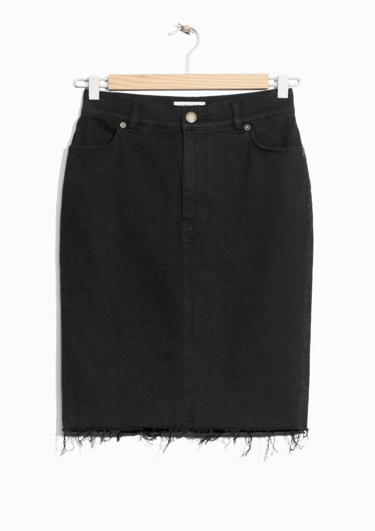 & Other Stories image 1 of Raw Edge Denim Skirt  in Black