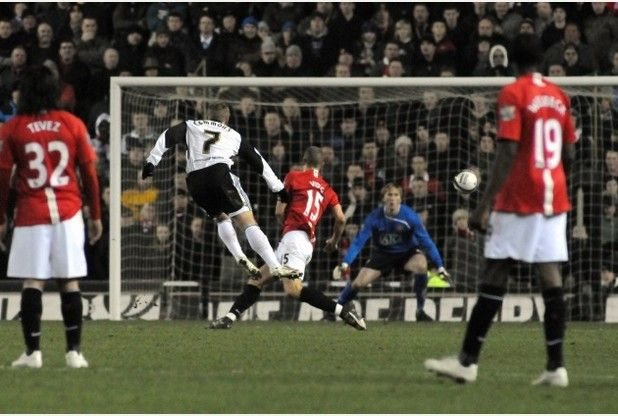 Derby County 1-0 Manchester United. League Cup Semi-final first leg, January 2009. Kris Commons gets the winner.