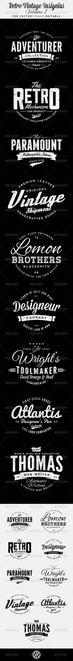 Retro Vintage Insignias Volume 1 - Badges & Stickers Web Elements