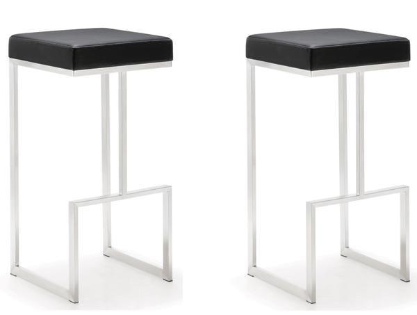 Set Of 2 Tov Furniture Ferrara 29 5 Barstool In Light Grey Bar Stools Black Bar Stools Modern Furniture