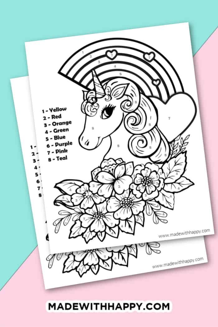 Unicorn Color By Number Free Printable Unicorn Coloring Page Unicorn Coloring Page Free Kids Prin Unicorn Coloring Pages Coloring Pages Printables Free Kids