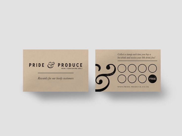 A deli and coffee shop loyalty card design, in keeping with the recycled kraft paper used as part of the Pride & Produce branding project.