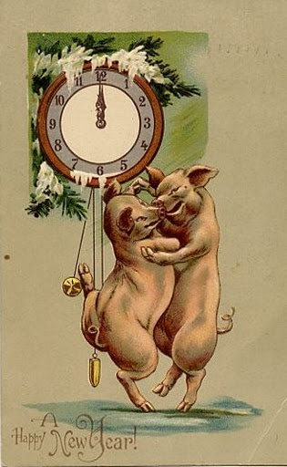 Dancing New Year's Eve Pigs Vintage Postcard