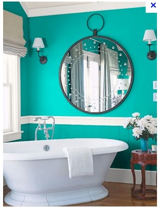 Amazing Turquoise Bathroom With Slipper Tub And Oversized Pocketwatch Style Mirror