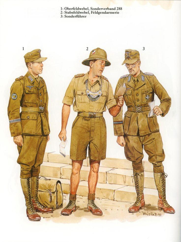"""Afrikakorps 1941-1943"" - 1 Oberfeldwebel, Sonderverband 288 - 2 Stabsfeldwebel, Feldgendarmerie - 3 Sonderfuehrer"