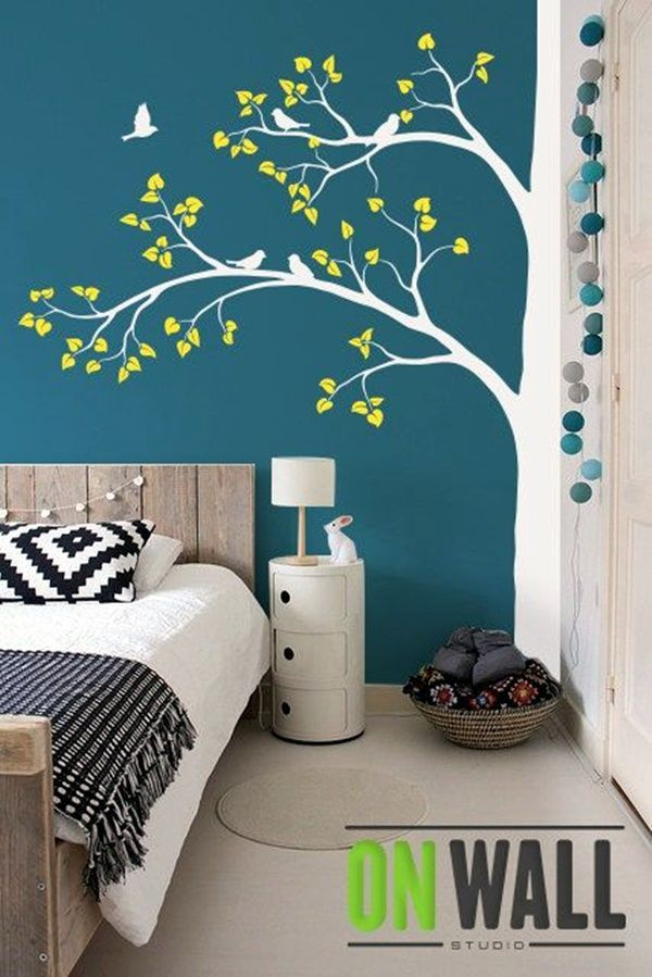 40 Elegant Wall Painting Ideas For Your Beloved Home Tree Wall Decal Living Room Diy Wall Painting Bedroom Paint Design
