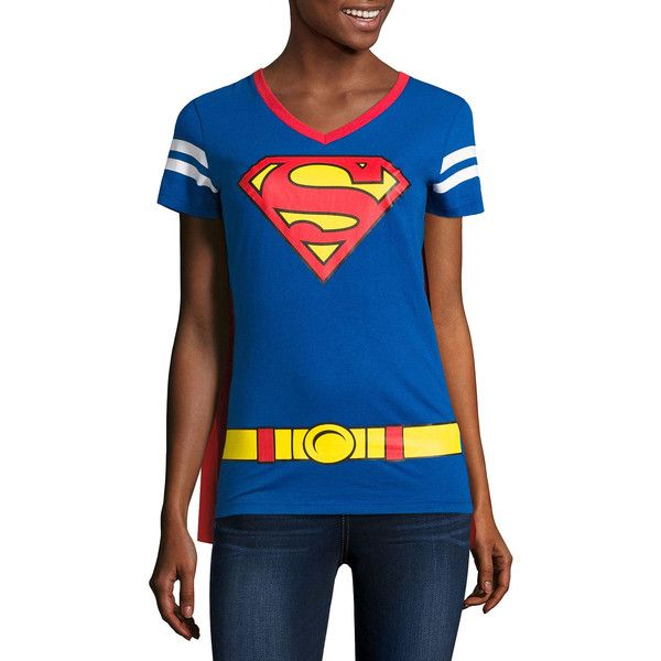 Superman Cape Tee - Juniors ($15) ❤ liked on Polyvore featuring tops, t-shirts, superman tee, blue t shirt, blue superman t shirt, superman t shirt and blue top
