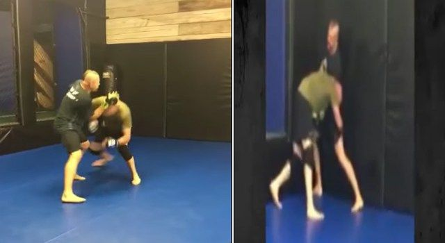 Randy Couture And Chuck Liddell Grappling