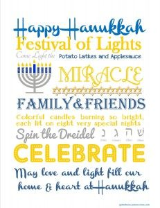Happy Hanukkah! Free Subway Art Printable: