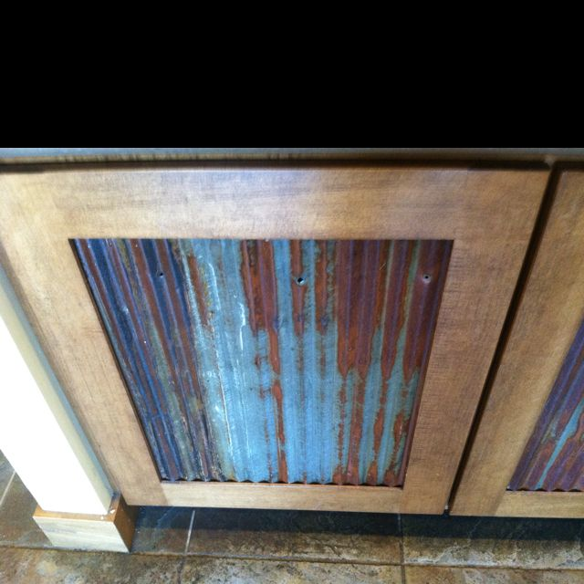 Reclaimed Corrugated Metal Used For Cabinets Storage In Barn