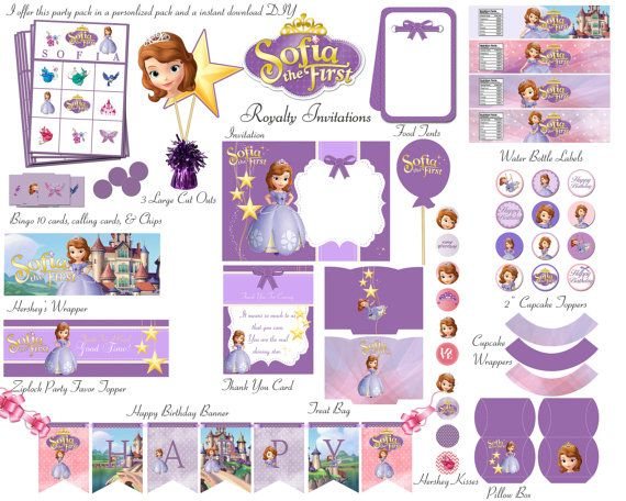 Sofia The First Birthday Party Deluxe Package Kid Party Princess  Party Free Bingo Game Instant Download DIY