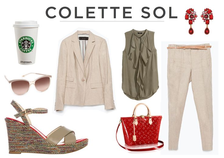Knitted Taupe Wedge with a linen suit perfect for a summer's work day! Find us on www.colettesol.com