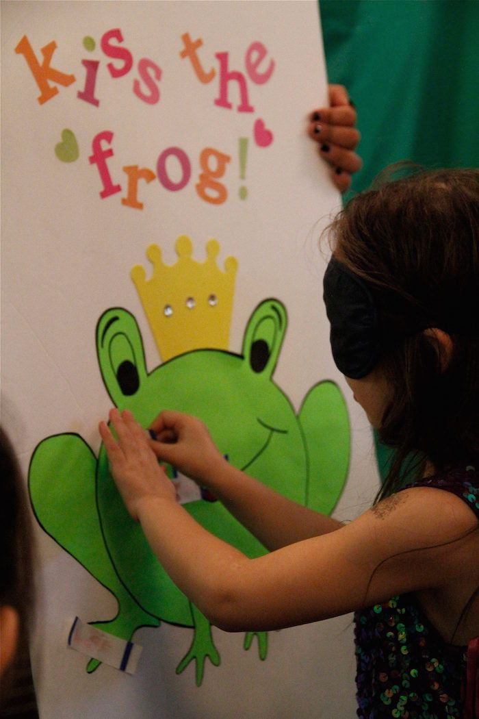 Instead of Kiss the frog, it should be FEED THE FROG, and stick flies and bugs to his mouth.