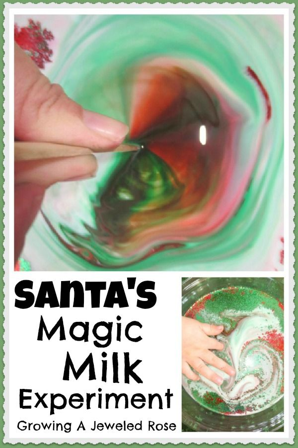 Santa's Magic Milk Experiment- sparkling swirling Science magic for the holidays!