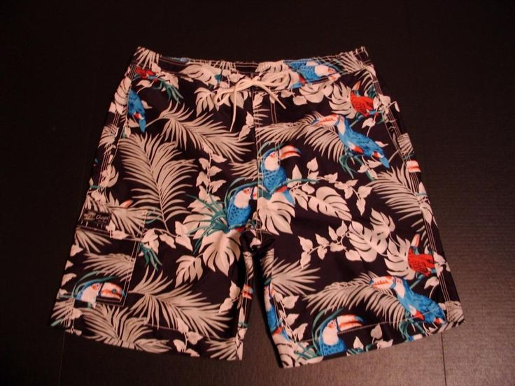 Chaps Ralph Lauren Swim Trunks Swimwear Board Shorts Toucan Tropical Velcro #Chaps #BoardShorts