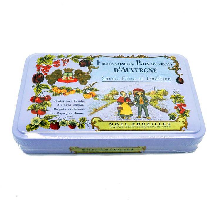 Nouveauté : pâtes de fruits d'Auvergne boîte métal Mauve de chez Cruzilles. 6 parfums : abricot, cassis, fraise, framboise, orange, prune