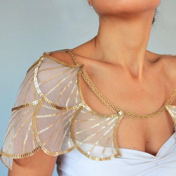 Gold Wedding Cape Harness Shoulder Chain, Bridal Shrug Sequin Wing Sleeves, Special Occasion Brides Fashion, Bolero Modern Romantic