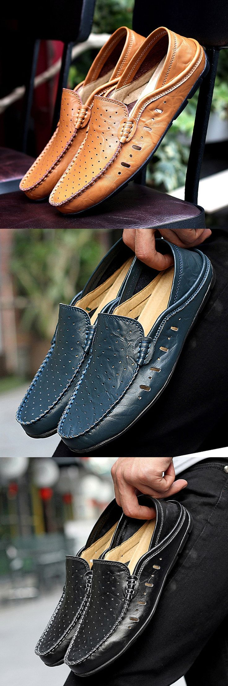 Men Hole Breathable Two Ways Wearing Doug Shoes Casual Driving Loafers