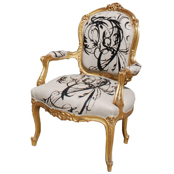 Louis XV Gilt Wood And Upholstered Arm Chair