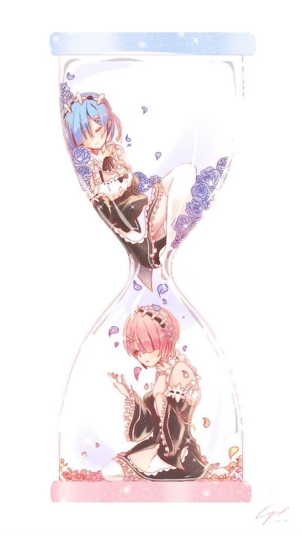 Rem and Ram from Re:Zero <3 hour glass trapped bottle