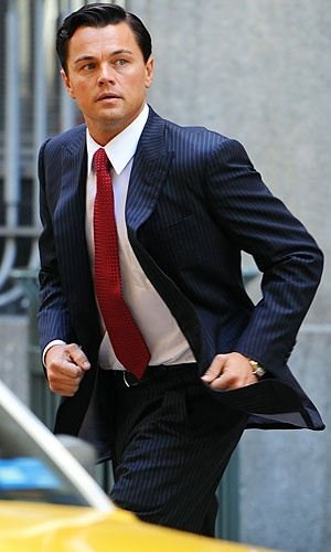 Leonardo Di Caprio running on the set of The Wolf of Wall Street