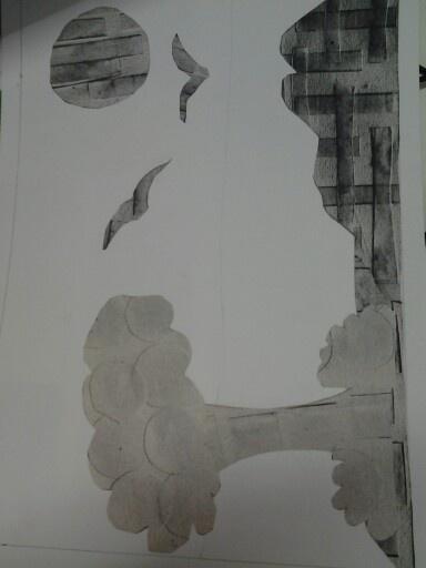 Colagem com texturas feitas em sulfite