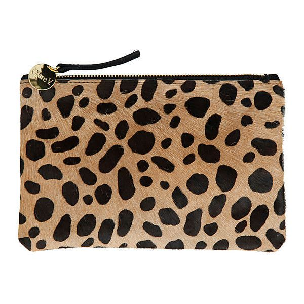 Wallet Clutch Leopard Hair Clutches & Evening Bags found on Polyvore featuring bags, handbags, clutches, beige evening bag, leopard print purse, leopard calf hair handbag, calf hair purse and zipper purse