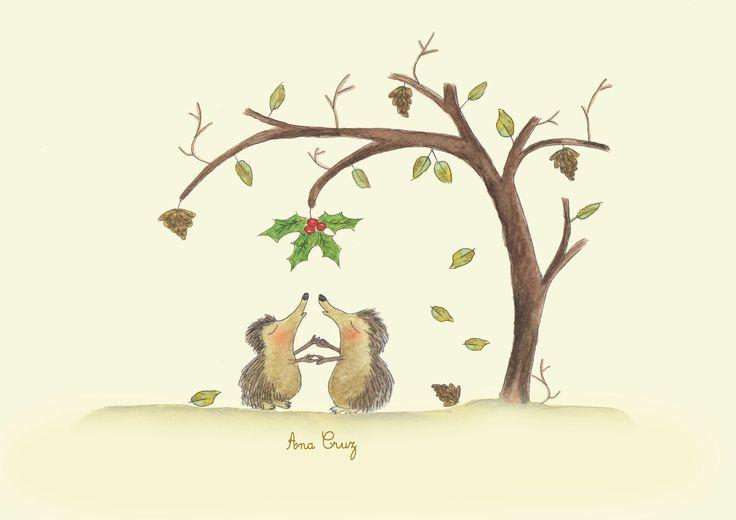 #muerdago #erizos #navidad #amor #love