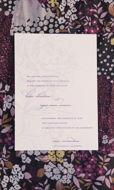 elegant peony wedding invitation - but i'd like a protea watermark