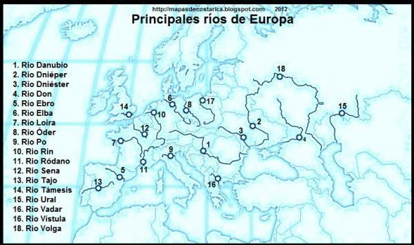 Mapa Fisic D Europa Rius.Aquests Son Els Rius Mes Llargs D Europa Europa Estudio