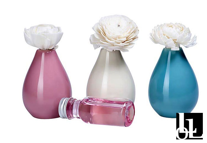 Flower diffusers in rose, vanilla and ocean water.