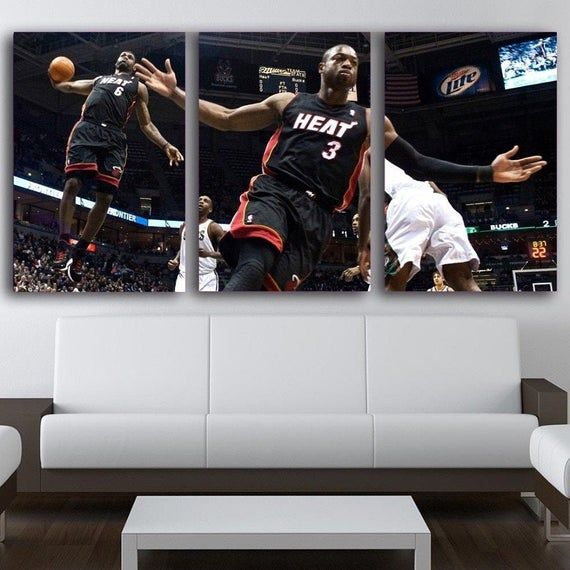 Dwyane Wade And Lebron James Wall Art Heat Poster Print Decor Canvas Painting King Labron Gift Idea Nba Wall Art Wall Art Canvas Painting Lebron James Poster