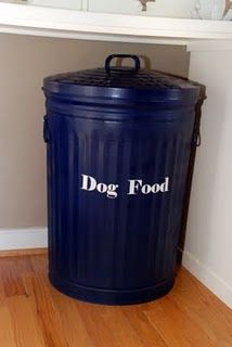 Dog Food Storage Container - Simple & Cheap... I love this idea, but don't have the room for it.