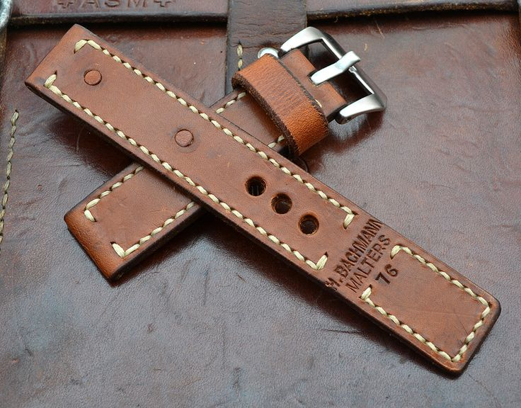 Handmade Vintage Swiss Ammo Leather Watch Strap 24 mm by MySunnyStore on Etsy