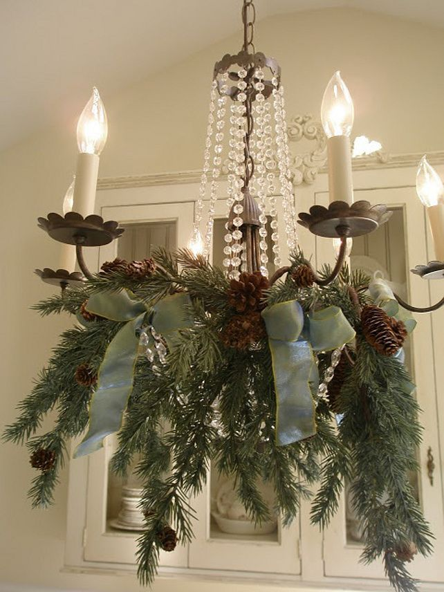 Easy Christmas Decor Ideas - Pretty for a dining room chandelier!