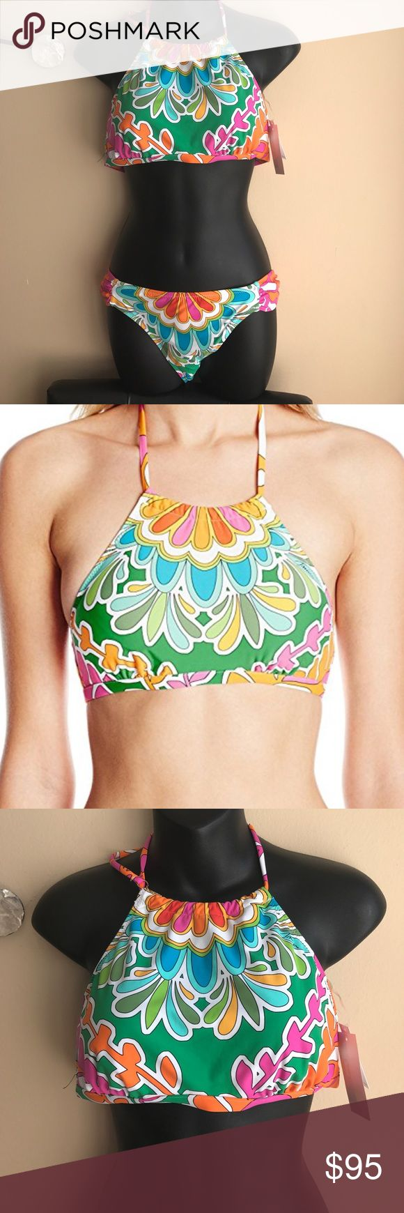 Trina Turk Sz 10 2 piece bikini set high neck 80% Nylon, 20% Elastane Imported Hand Wash Banded under bust Ties at neck Removable soft cup Trina Turk Swim Bikinis
